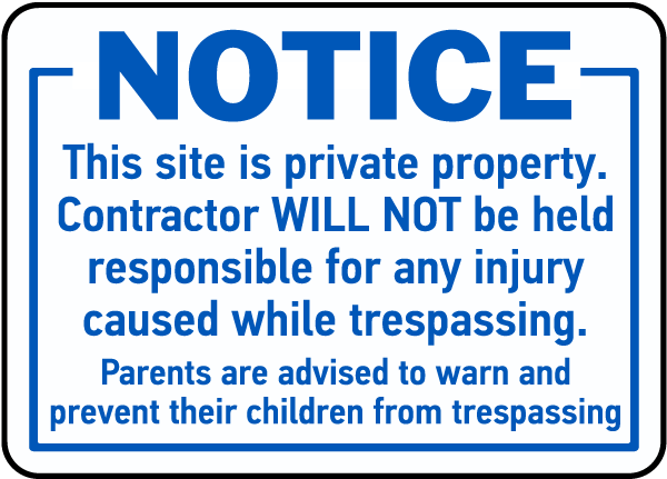 Notice Private Property Keep Out Safety Signs and Stickers