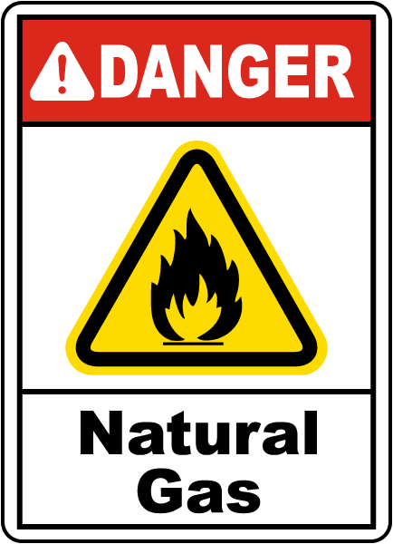 Danger Natural Gas Sign G4885 By Safetysign