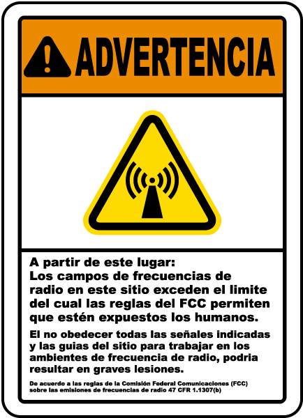 Spanish Radio Frequency Fields May Exceed Rules Sign