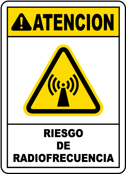 Spanish Caution Radio Frequency Hazard Sign