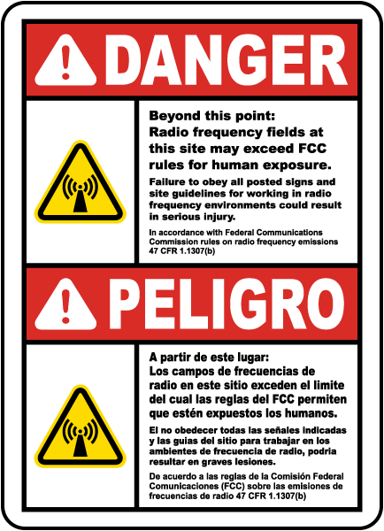 Bilingual Danger Beyond This Point RF Fields Sign