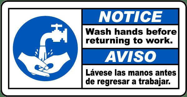 Bilingual Notice Wash Hands Before Returning Label