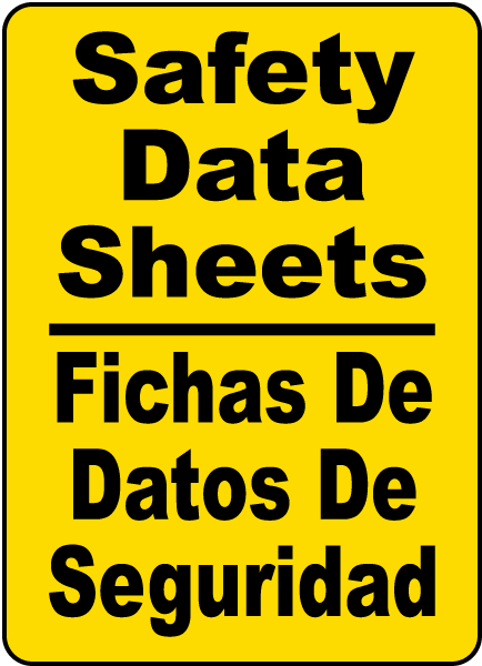 Bilingual Safety Data Sheets Sign