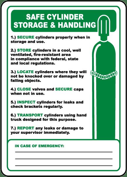 Safe Cylinder Storage Sign By Safetysign Com H3913