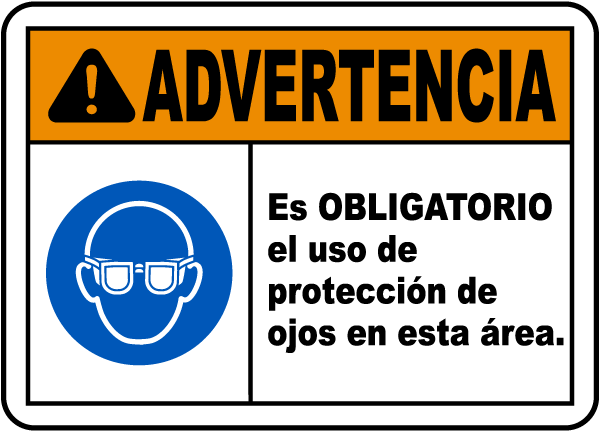 Spanish Warning Eye Protection Required Sign