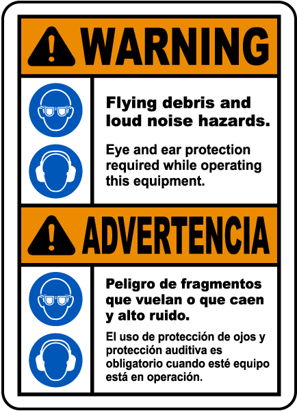 Bilingual Flying Debris and Loud Noise Hazards Sign