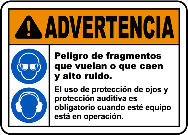 Spanish Flying Debris and Loud Noise Hazards Label