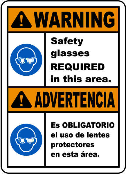 Bilingual Warning Safety Glasses Required Sign