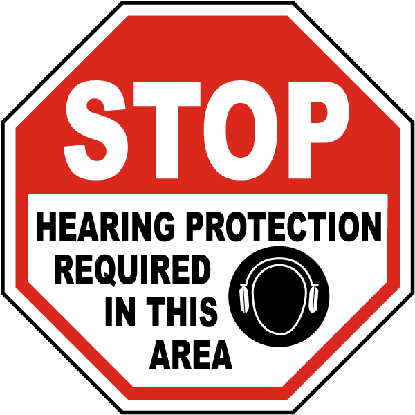 Vertical Metal Sign Multiple Sizes Hearing Protection Required Beyond Hazard