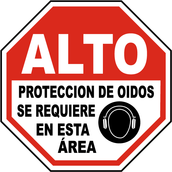 Spanish Stop Hearing Protection Required Sign