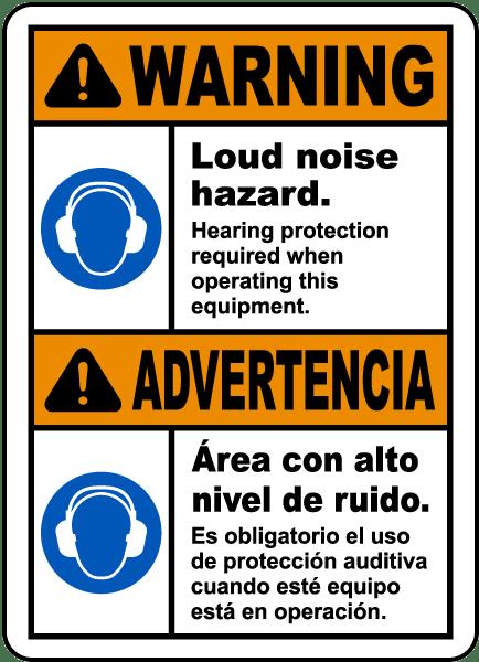 Bilingual Warning Loud Noise Hazard Label