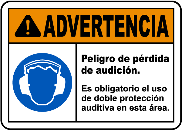 Spanish Double Hearing Protection Required Sign