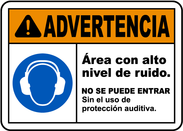 Spanish Do Not Enter Without Hearing Protection Sign