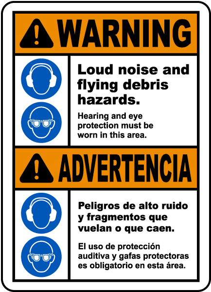 Bilingual Hearing and Eye Protection Must Be Worn Sign
