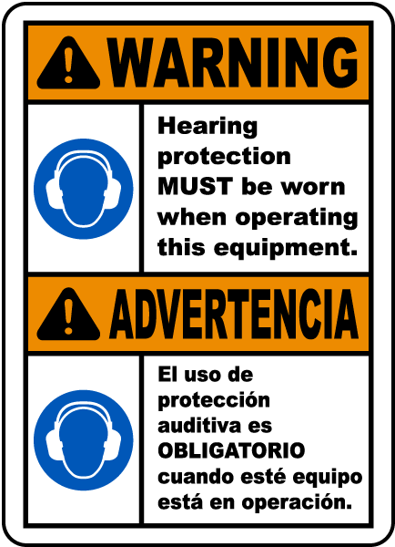 Bilingual Warning Hearing Protection Label