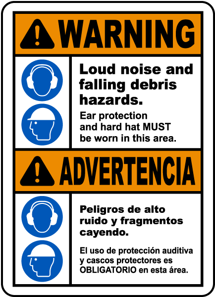 Bilingual Warning Loud Noise and Flying Debris Sign