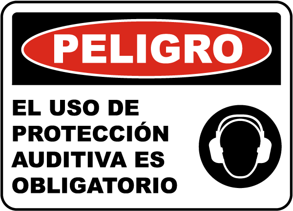 Spanish Danger Hearing Protection Required Sign