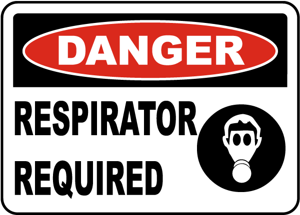 Danger Respirator Required Sign by SafetySign.com - I4324