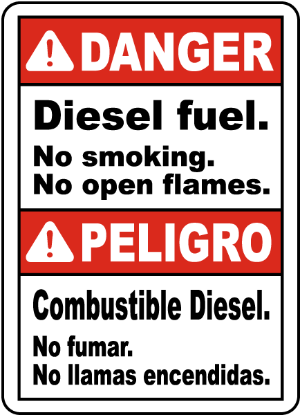 Bilingual Danger Diesel Fuel No Smoking Sign