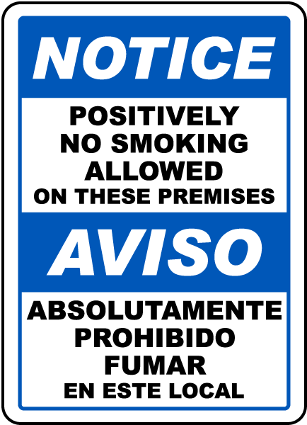 Bilingual No Smoking Allowed on Premises Sign