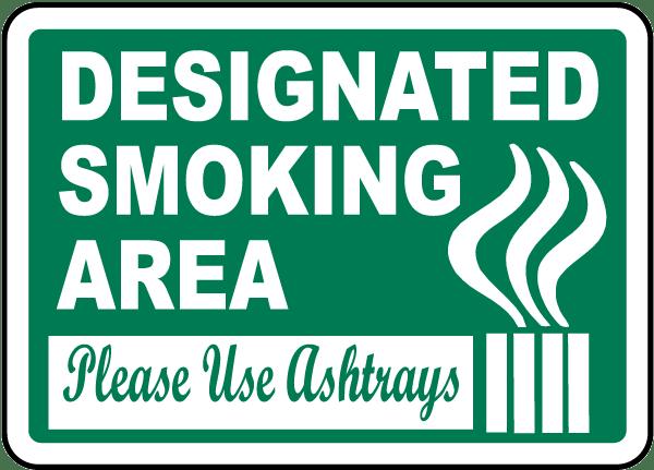 Designated Smoking Area Sign J2528 - by SafetySign.com