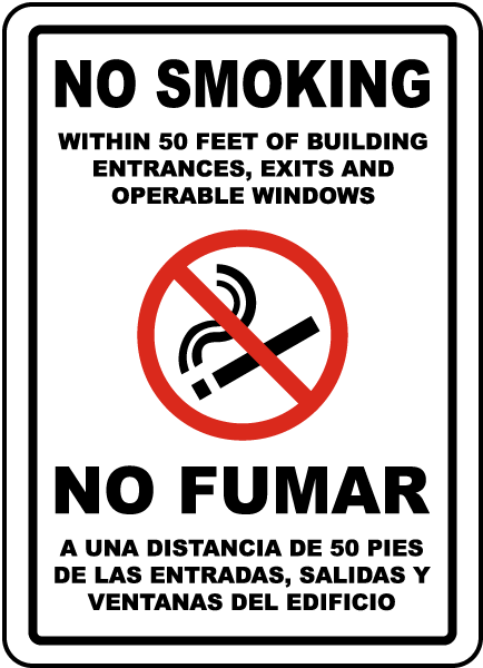 Bilingual No Smoking Within 50 Feet Sign By Safetysign Com