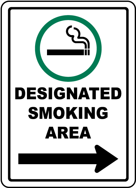 Designated Smoking Area with Right Arrow Sign