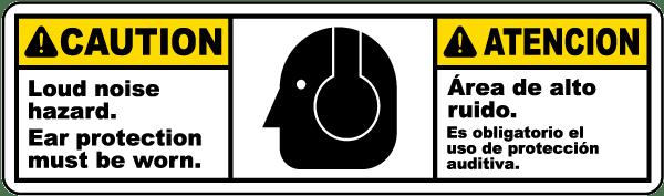 Bilingual Caution Loud Noise Hazard Label