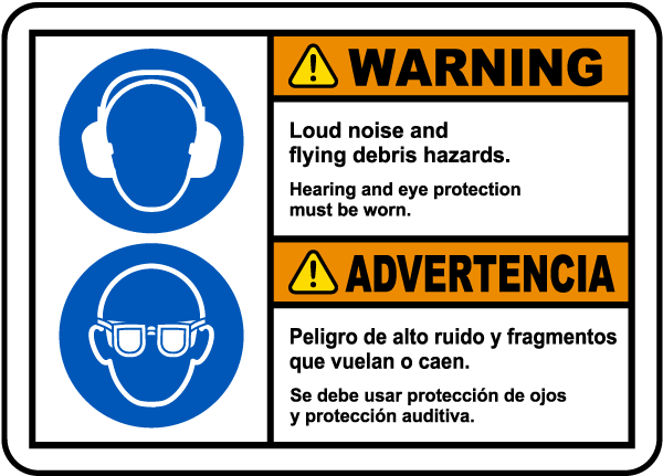 Bilingual Hearing and Eye Protection Must Be Worn Label