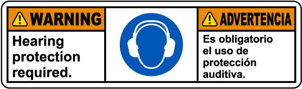 Bilingual Warning Hearing Protection Required Label