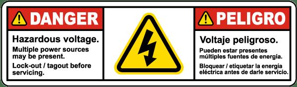 bilingual hazardous voltage multiple power sources present label