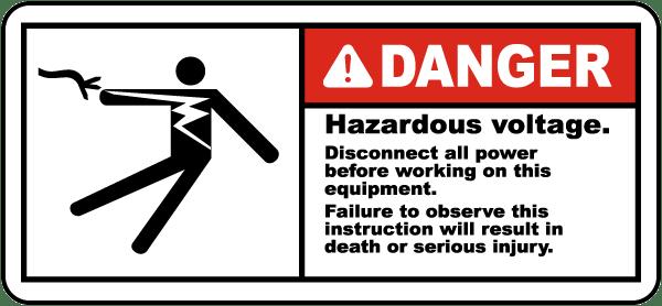 Danger Hazardous Voltage Label By Safetysign Com J5309