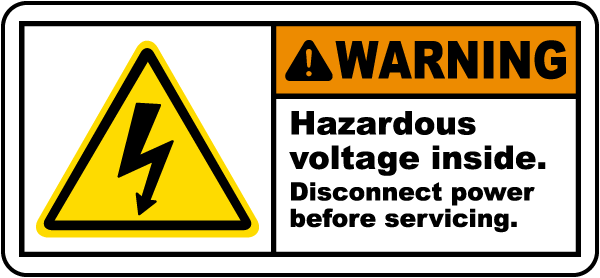 Electrical Label WARNING CAUTION DANGER PERIODIC RCD INSPECT VOLTAGE YELLOW p9