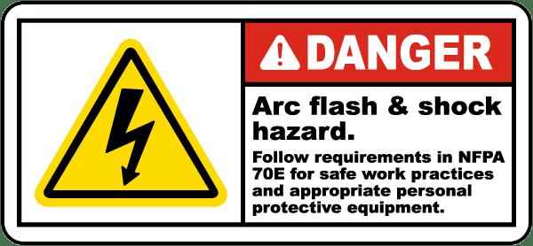 Danger arc flash shock hazard label j5502 by for Danger arc flash labels