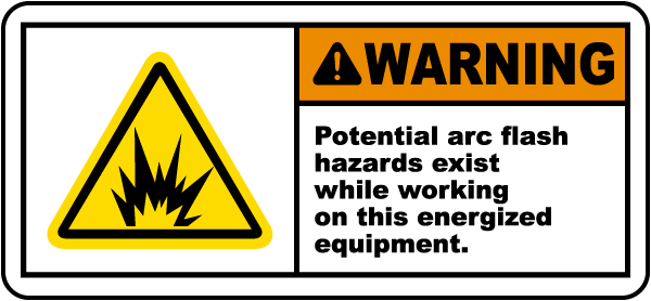Potential arc flash hazard label j5510 by safetysigncom for Arc flash warning signs