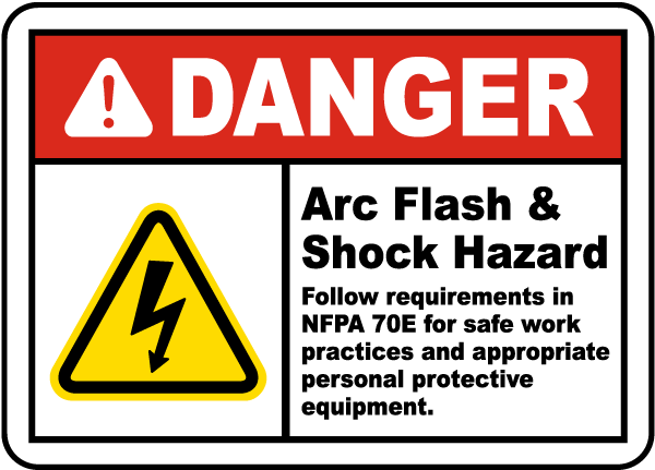 Danger Arc Flash & Shock Hazard Label