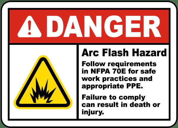 Danger Arc Flash Hazard Label