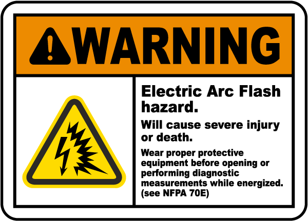 Warning electric arc flash hazard label j5519 by for Danger arc flash labels