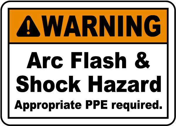 Warning arc flash shock label by safetysigncom j5528 for Arc flash warning signs