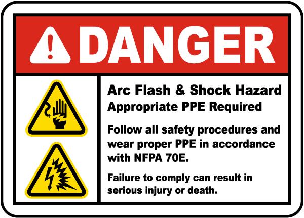 Danger arc flash shock hazard label j5539 by for Danger arc flash labels