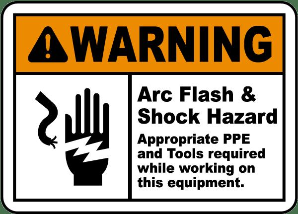 warning arc flash shock hazard label j5541 by With arc flash hazard sticker