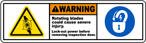 Warning Rotating Blades Label by SafetySign.com - J5813