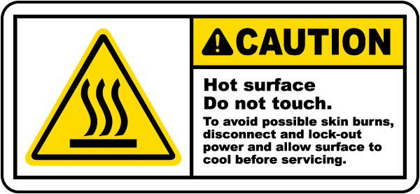 Caution Hot Surface Label - J6108. Hot Surface Labels by SafetySign ...