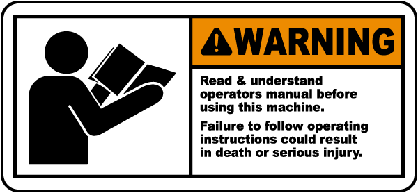 Read Understand Manual Label J6405 By Safetysign