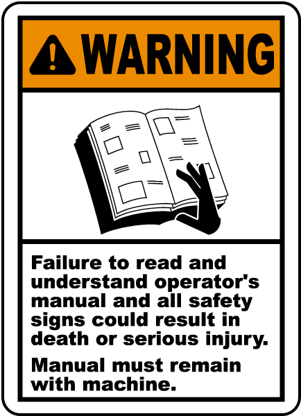 Manual Must Remain With Machine Label J6410 By Safetysign