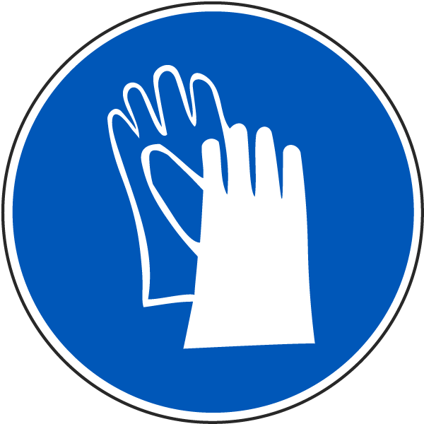 Wear Protective Gloves Label J6504 By Safetysign