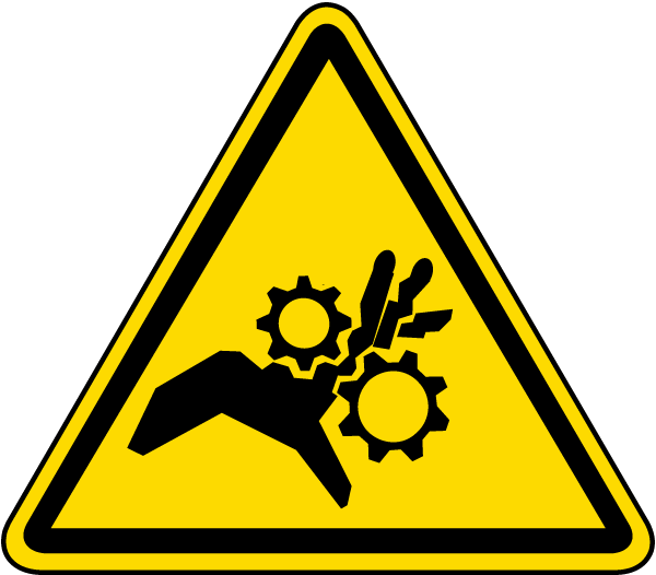 Hand Entanglement Rotating Gears Label J6524 By Safetysign