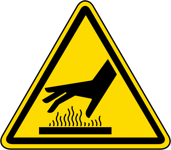 Hot Surface Hazard Label - J6525. ISO Warning Labels by SafetySign.com ...