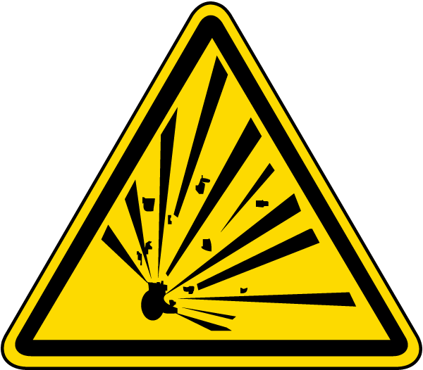 Explosive Material Hazard Label by SafetySign.com - J6538