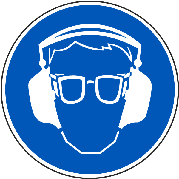 Wear Eye And Ear Protection Label J6570 By Safetysign